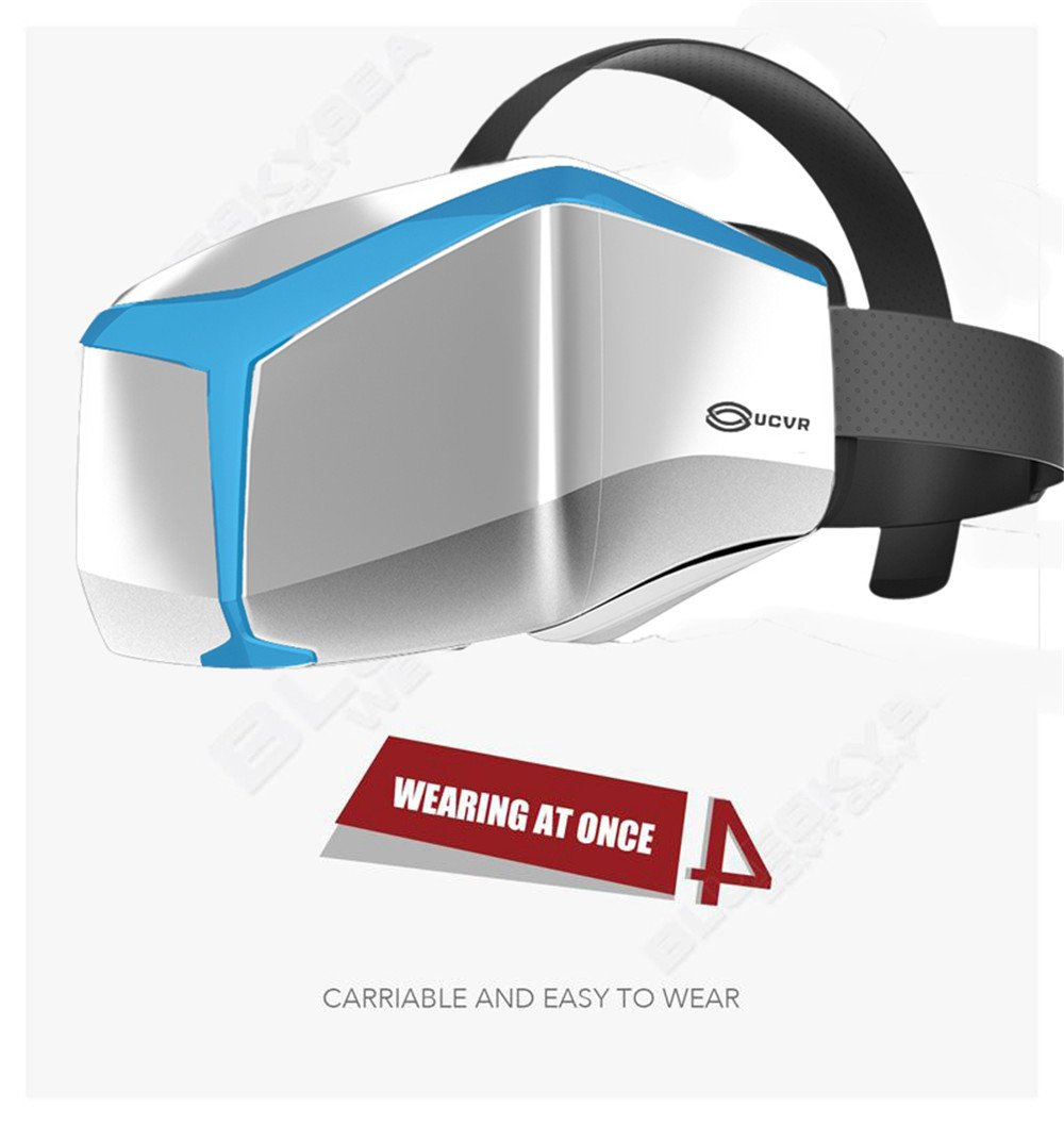 Chunnuan UCVR VIEW Virtual Reality VR 3D 360 Degrees Full View Immersive Gaming Experience Glasses Blue For 5 To 5.7 Inch Smarthone (Blue)