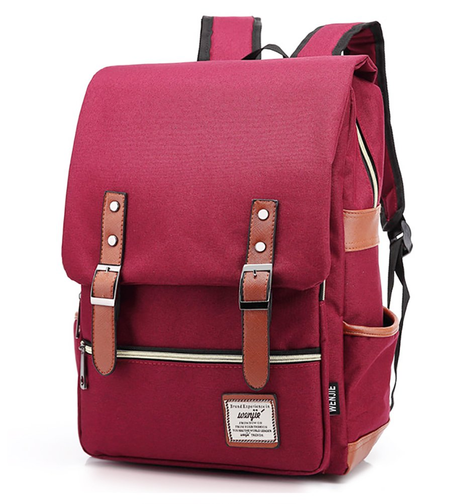 Furivy Unisex Oxford Retro Style Laptop Backpack College School Bag Student Daypack Rucksack Wine Red