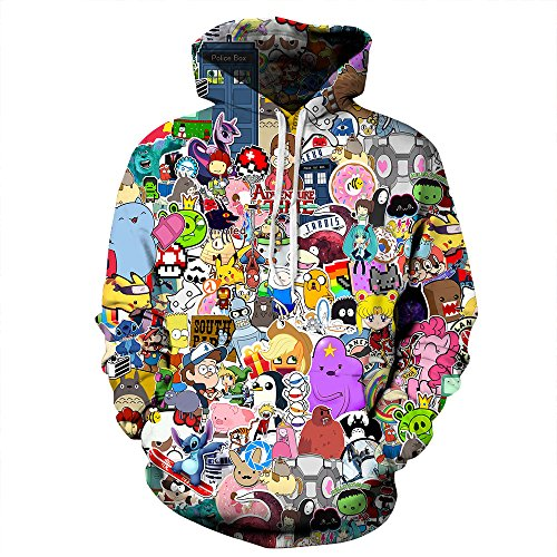 NEWCOSPLAY Unisex Athletic Hooded Sweatshirts 3D Digital Printed Hoodies Colorful Galaxy Pattern Big Pocket Sweaters (S/M, Cartoon)