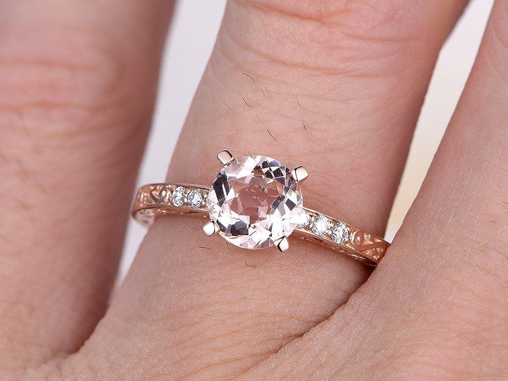 14k Rose Gold Engagement Rings Set, 7mm Round Pink Morganite Deco ...