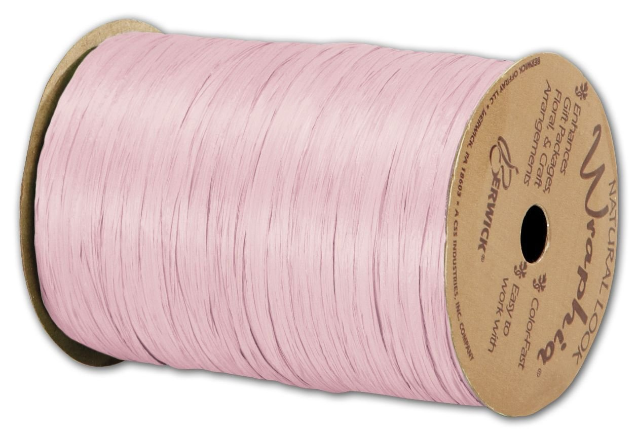 Solid Raffia - Matte Wraphia Light Pink Ribbon, 1/4'' x 100 Yds (3/pack) - BOWS-74900-02 by Miller Supply Inc.