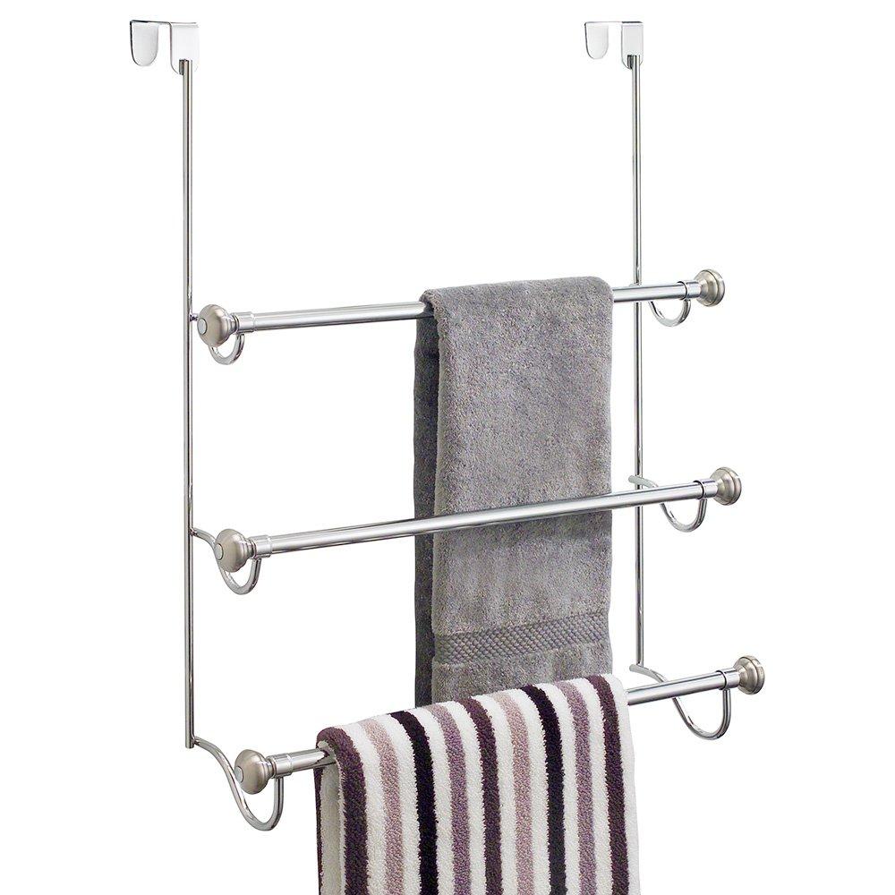 Uncategorized Towel Hangers For Doors amazon com interdesign york over the shower door 3 bar towel rack split finish stainless steel 7 25 x 22 5 17 75 inches h