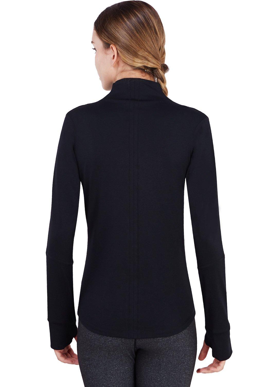 Matymats Women's Active Full-Zip Track Jacket Yoga Running Athletic Coat With Thumb Holes,Large,Black by Matymats (Image #5)