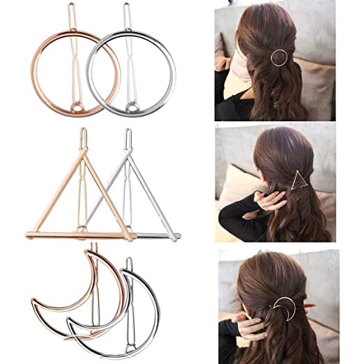 Geometric Hair Clips for Women Girls- Gold Silver Hollow Triangle Hair Clip Metal Hairpin Clamps Accessories Barrettes Bobby Pin Ponytail Holder Gift Idea Wedding Hair Accessories