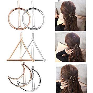 dcf540c26ceef Amazon.com : Geometric Hair Clips for Women Girls- Gold Silver Hollow  Triangle Hair Clip Metal Hairpin Clamps Accessories Barrettes Bobby Pin  Ponytail ...