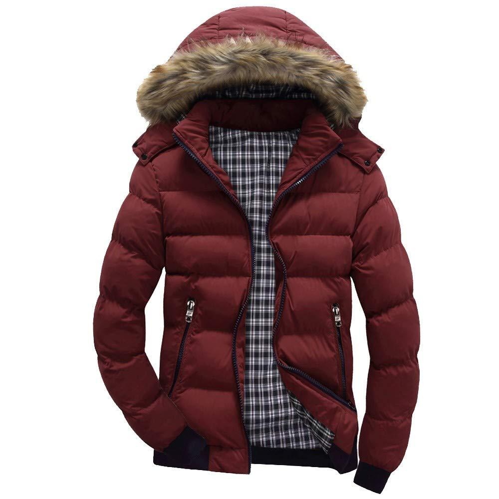 BaZhaHei Men's Hooded Cotton Coat Casual Warm Hooded Winter Zipper Coat Outwear Jacket Top Blouse Patchwork Sport Jacket
