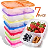 AccMart Meal Prep Containers 3 Compartment Plastic Bento Lunch Box Food Containers Reusable Meal Prep Bowls with Lids for Kids, BPA-Free,Stackable Dishwasher & Freezer Safe, 32oz (7PCS)