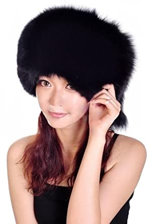 be044e02e60c6 Queenshiny Women s 100% Real Fox Fur Hat with Flattopping-Black