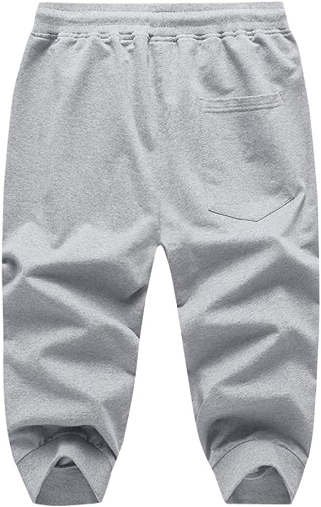 SHERUPOO Mens Joggers 3//4 Pants Capri Shorts with Zipper Pockets Activewear for Workout Training Running