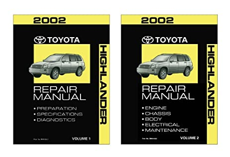 amazon com 2002 toyota highlander shop service repair manual book rh amazon com