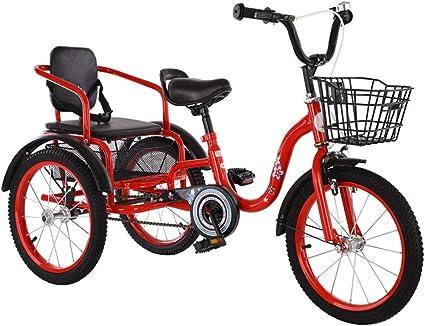 Niños Triciclo Pedales con Cestas, Sillas De Montar Cómodas, 18 Bici Plegable Pulgadas 2-12 Montar A Caballo De Año Crucero Vieja Double Niños Trikes For Niños, Bicicleta 3 Ruedas: Amazon.es: Hogar