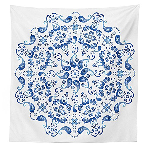Mandala Decor Tablecloth Eastern Ottoman Turkish Mosaic Ceramic Style Artsy Round Shape with Birds Baroque Image Dining Room Kitchen Rectangular Table Cover Blue White (Target Ottoman Threshold)