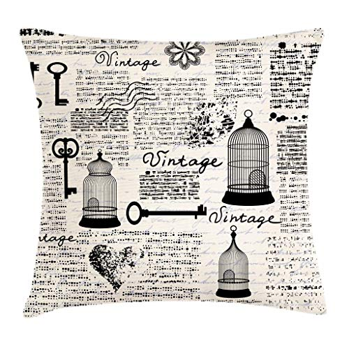 "Ambesonne Old Newspaper Throw Pillow Cushion Cover, Grunge Retro Pattern with Bird Cages Keys Heart Shapes and Flower, Decorative Square Accent Pillow Case, 20"" X 20"", Blue Black"
