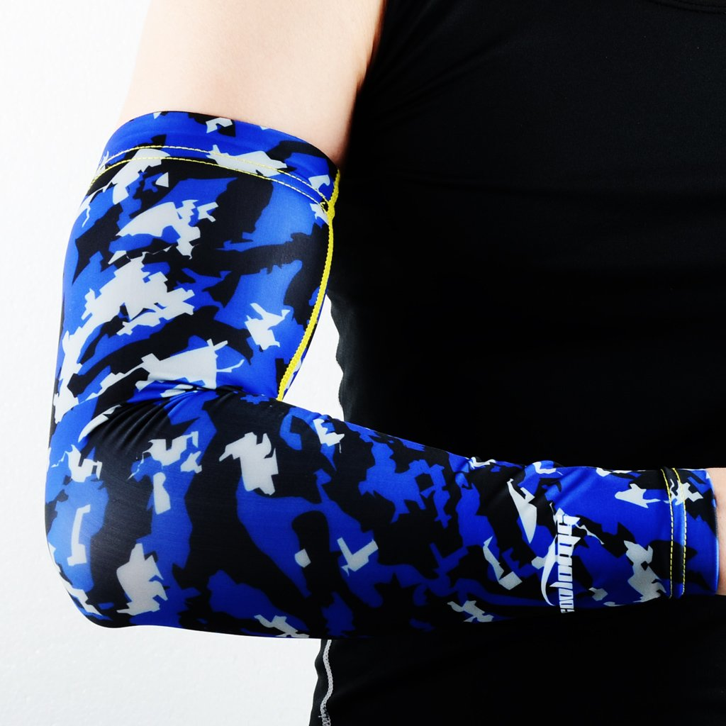 COOLOMG Homme 1 Piece Compression Arm Sleeve Jeunes Adultes Anti-dérapant Protection UV Baseball Bleu XX-Small Vêtements