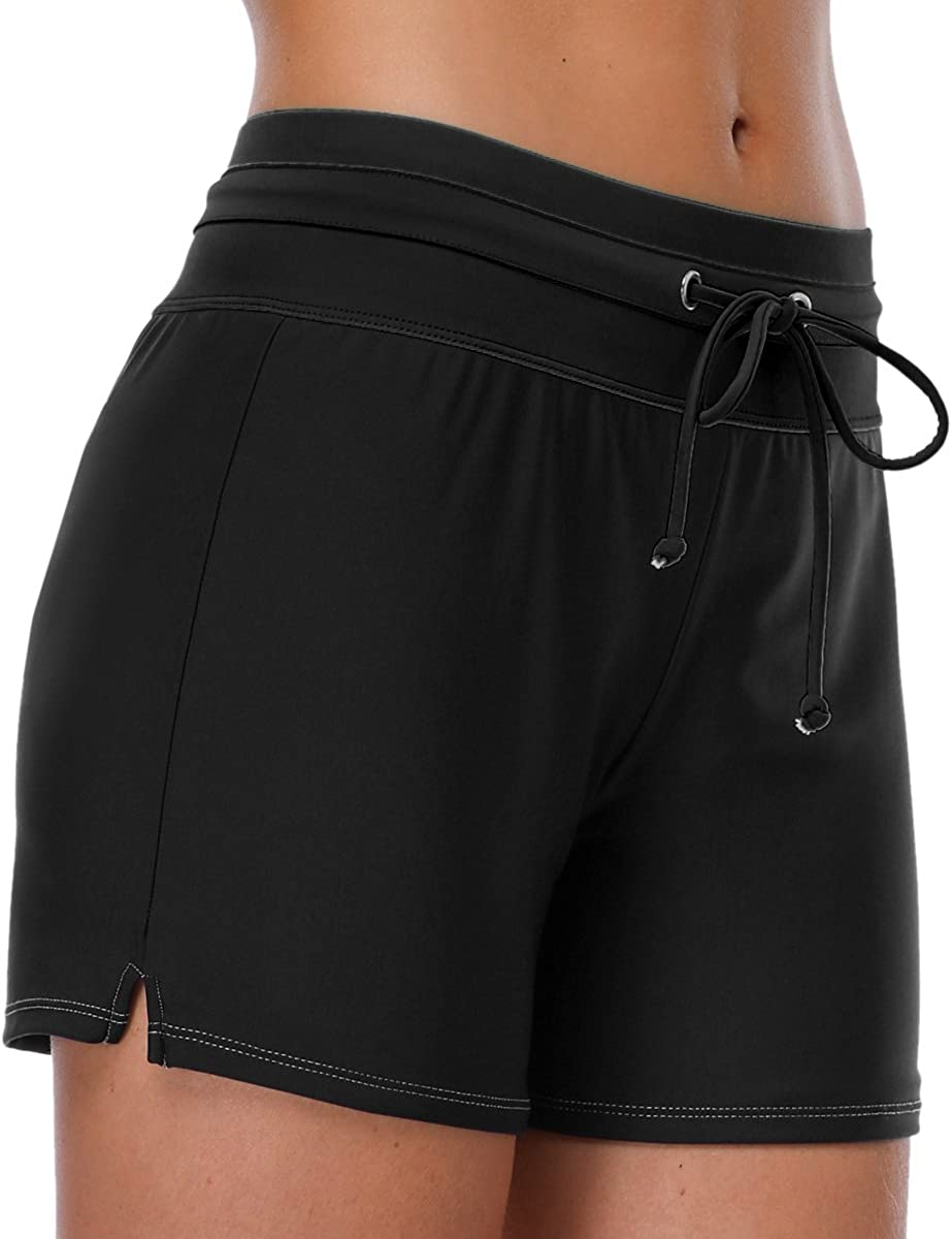 V FOR CITY Boardshorts for Womens Swimming Suit Shorts with Drawstring High Waisted Tie Beachwear Black L