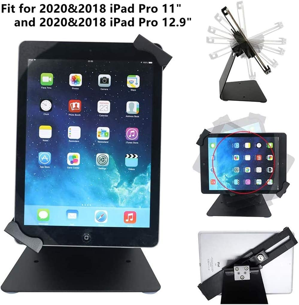iPad Desktop Anti-Theft Security Kiosk POS Stand Holder Enclosure with Lock & Key for iPad, Surface Pro 4, and Most 10-13inch Tablets, Flip & Rotate Design, Black