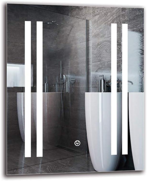 Espejo LED Deluxe - Dimensiones del Espejo 40x50 cm - Interruptor ...