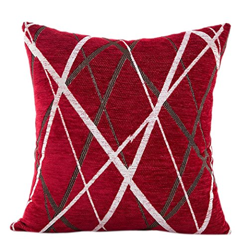 Bokeley Pillow Case, Plush Square Striped Decorative Throw Pillow Case Bed Home Decor Cushion Cover (Red)
