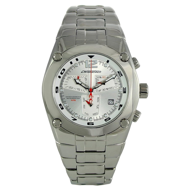 Chronotech CHTCT.7923M - 01M Herren Chronograph Silber Armband Band Silber Zifferblatt Uhr