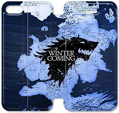 Klreng Walatina® Coque iPhone 6 6s Plus de 5,5 pouces Coque cuir Game of Thrones Maison Stark I4B7At