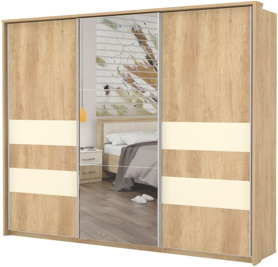 Armario de puertas correderas marrón claro 225 x 278 x 64 cm, armario para dormitorio: Amazon.es: Bricolaje y herramientas