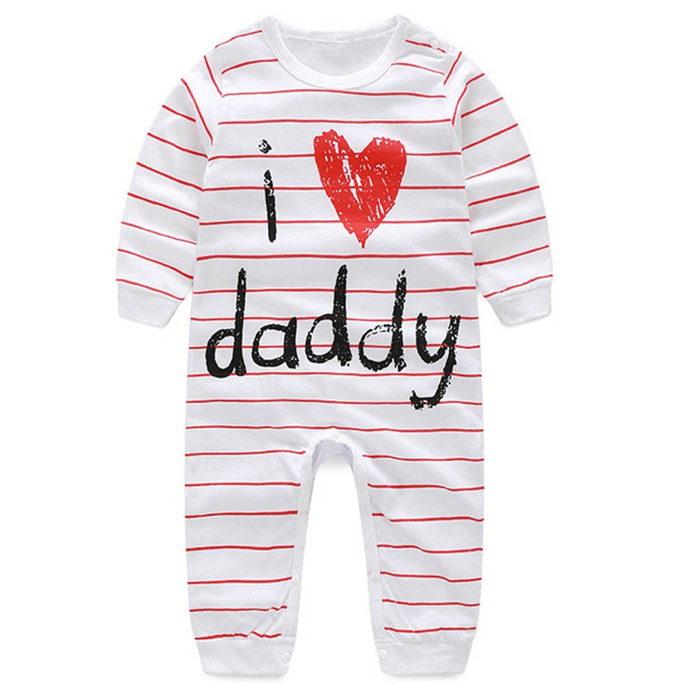 Scfcloth Newborn Baby Boys Girls ''i Love daddy'' Long Sleeve Stripe Romper Footed Pajama Clothing Outfits