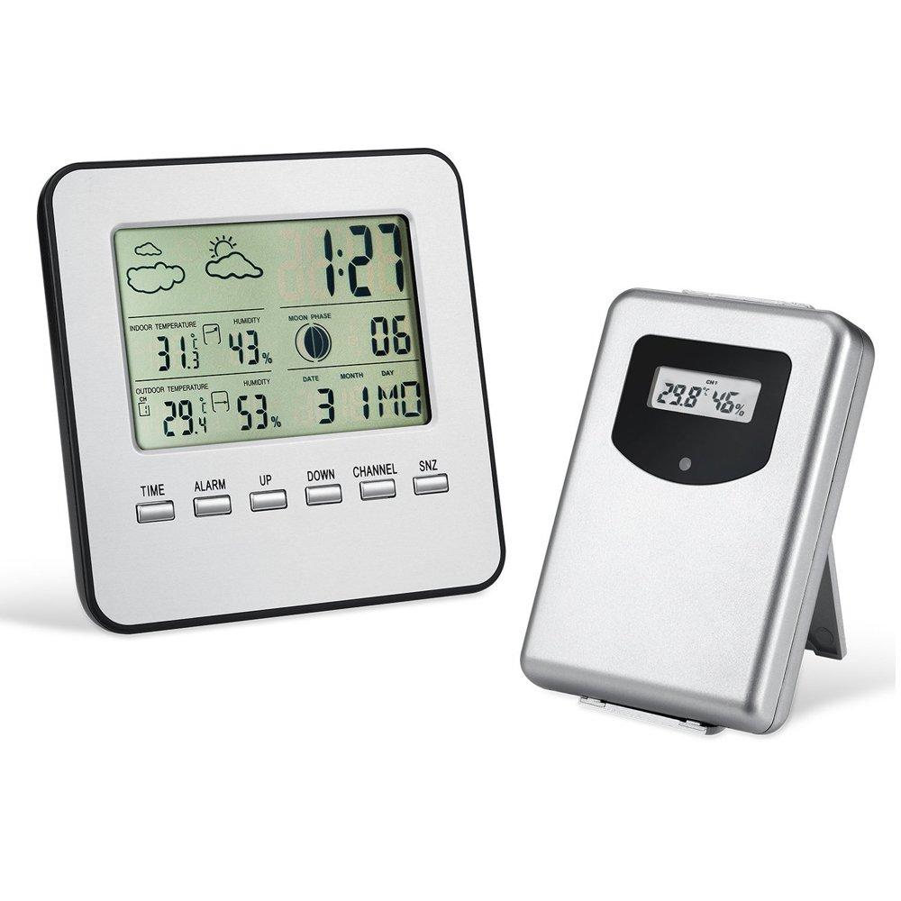 Sayou® TempéRature IntéRieur ExtéRieur / Horloges Stations MéTéO / ThermomèTre Et Horloge / ThermomèTre HygromèTre Sans Fil Avec grand écran LCD