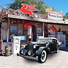 AOFOTO 8x8ft Route 66 Road Rest Stop Backdrop Vintage Car Photography Background Old General Store Roadside Gas Station Western US Travel Photo Studio Props Vinyl Wallpaper American History Culture