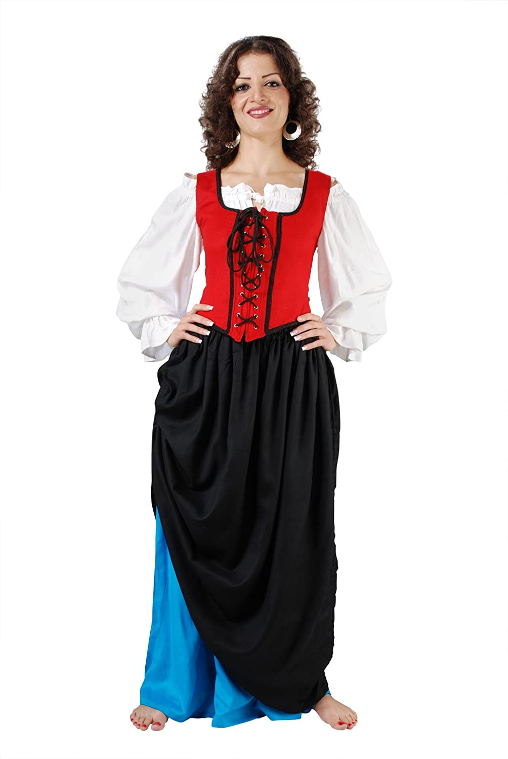 Women's Double-Layer Black and Turquoise Medieval Renaissance Skirt by Armor Venue - DeluxeAdultCostumes.com