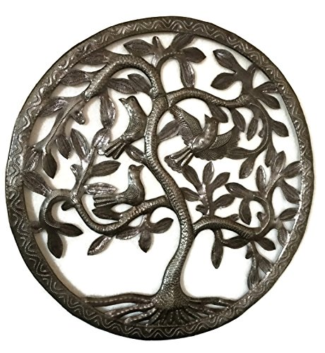 "Tree of Life Wall Art, Nature Inspired, Handmade in Haiti, Steel Metal Decor, Indoor and Outdoor 17""x17"" Fair Trade Federation Certified"