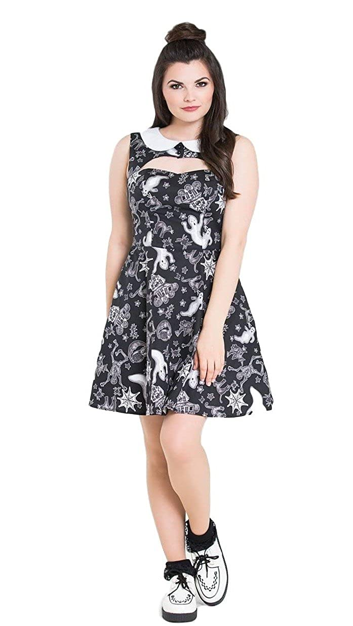 c0e7a4274d Hell Bunny Spooky Ghost Halloween Skater Dress - Black (M - UK 12)   Amazon.co.uk  Clothing