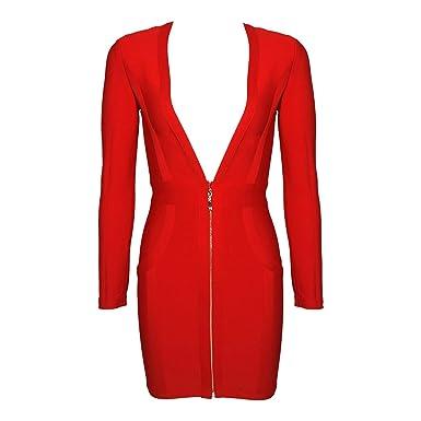 2019 Red Color Long Sleeve Bandage Dress Deep V Neck Mini ...
