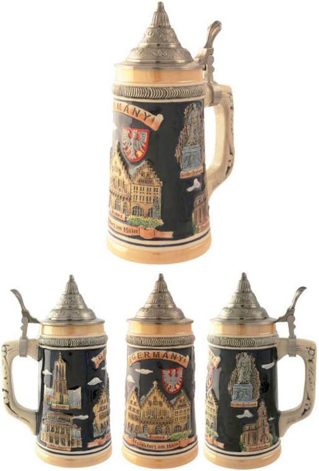 Official Jarra Decorativa de Cerveza Alemana Ceramica Germany-Frankfurt 700 ML.
