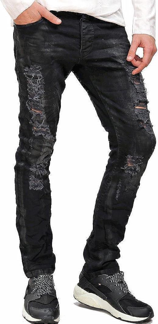 Redbridge Hombres Pantalones Rasgados Denim Skinny Negro Moda Jeans