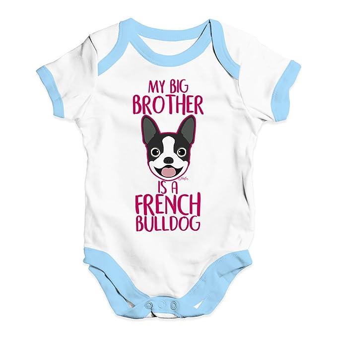 b4a58b3da TWISTED ENVY My Big Brother is A French Bulldog Infant Creeper Bodysuit  Onesie White Blue Trim