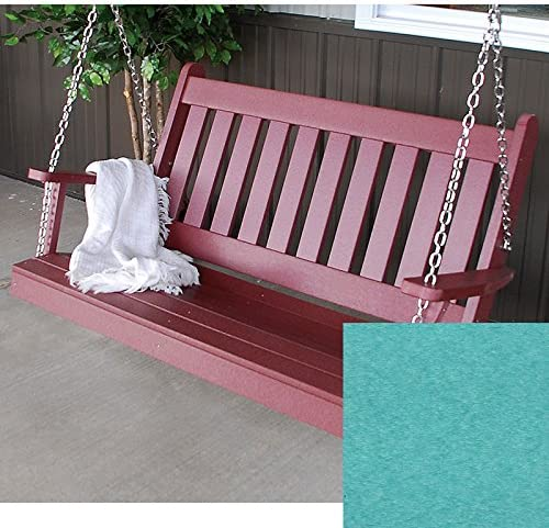 A L Furniture Co. Traditional English Recycled Plastic Porch Swing 5 Foot, Aruba