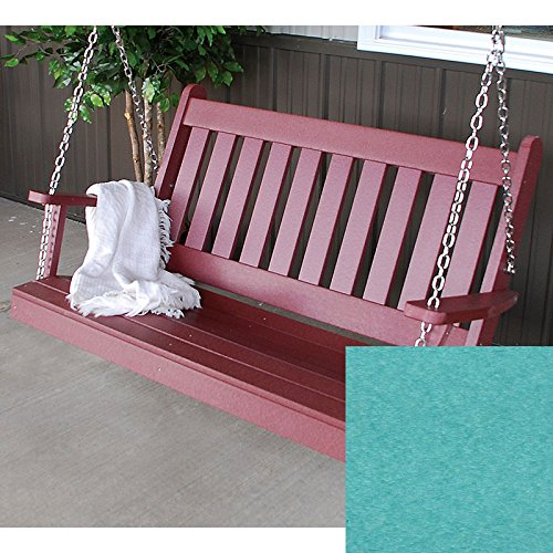 A&L Furniture Co. Traditional English Recycled Plastic Porch Swing (5 Foot, Aruba)