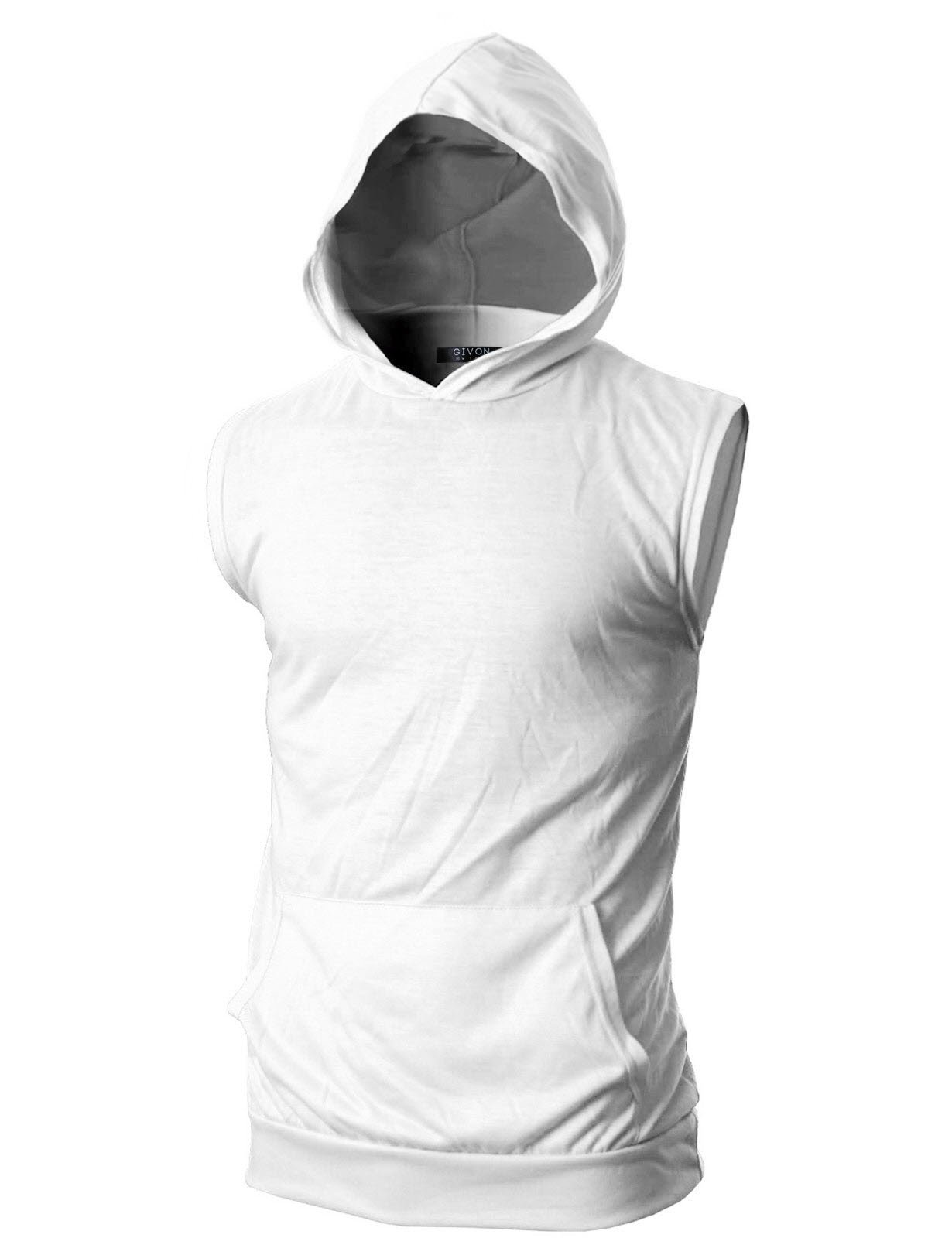 GIVON Mens Slim Fit Thin Super Lightweight Sleeveless Tank Top Hoodie With Kanga Pocket/DCF015-WHITE-M