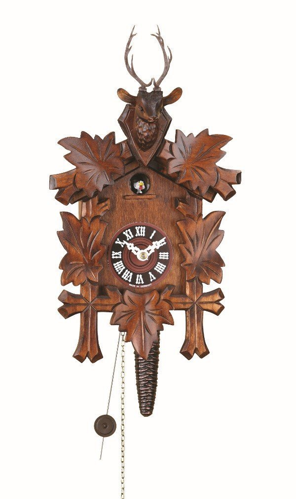 Quarter call cuckoo clock with 1-day movement Five leaves, head of a deer TU 624 nu Trenkle