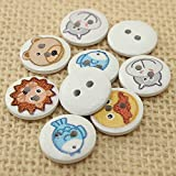 100pcs Mixed 2 Holes Animal Round Wooden Buttons Sewing Scrapbooking