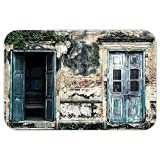VROSELV Custom Door MatRustic Decor Doorof An Old Rock House with French Frame Detailin Countryside European Past Theme Decor Teal Grey