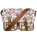Miss Lulu Canvas Prints Satchel Messenger Shoulder Bag (Owl Beige)