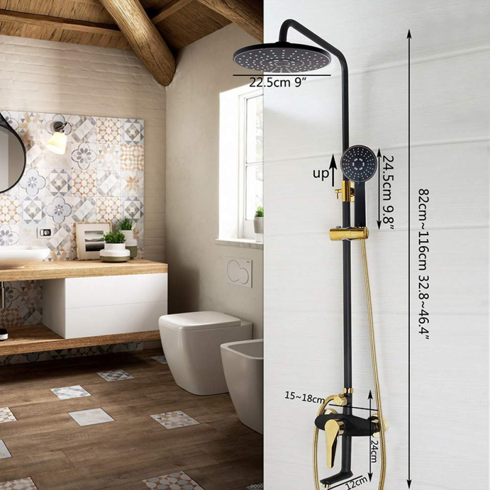 Black Shower 4 HUASAA Luxury Painting Bathroom Rain Mixer Shower Combo Set Wall Mounted Rainfall Shower Head System Black gold-plated Shower Faucet