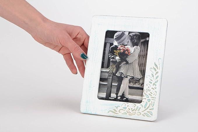 Marco de fotos de madera artesanal blanco con ornamento vintage 10õ15: Amazon.es: Hogar
