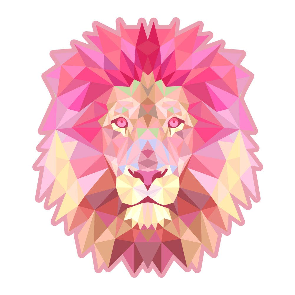 Laptops Windows D/écor Dark Spark Decals Low Poly Geometric Lion Cars 5 Inch Full Color Vinyl Decal for Indoor or Outdoor use and More