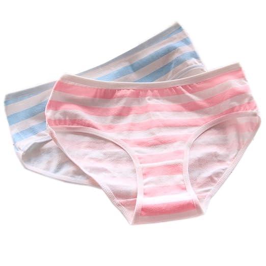 4a56e8935a874 Patiky Women Girls Stripe Underwear Pants Cotton Briefs Panties for Girl 2  Pack NK01 (Bikini