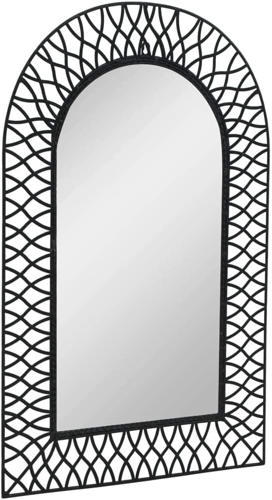 vidaXL Garden Wall Mirror Arched Heavy Duty Steel Frame Outdoor Backyard Patio Decoration Hanging Mirror 19.6