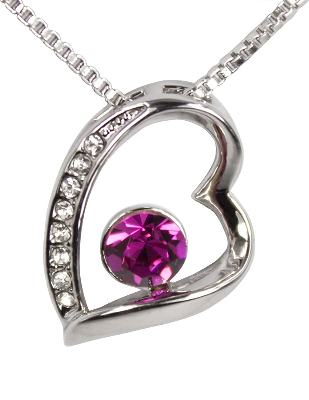 Dahlia Stylish Heart Crystal Rhodium Plated Necklace with Crystals from Swarovski