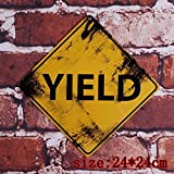 Yield Metal Plaque Antique Retro Tin Signs Home Bar Garage Wall Decor Creative