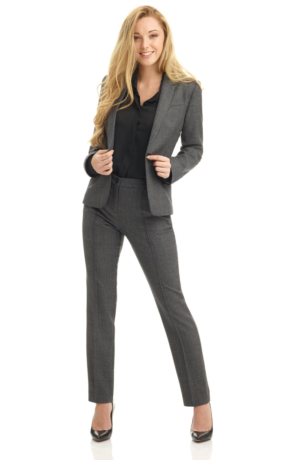 Rekucci Collection Women's Stretch Wool Tailored Pants (16,Grey Glencheck) by Rekucci (Image #4)